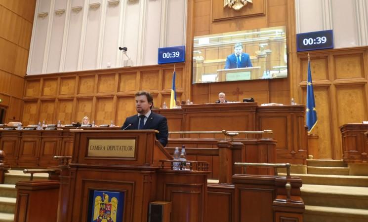 """Deputatul USR Daniel Popescu a susținut în Camera Deputaților cauza localităților sucevene afectate de proiectul păgubos """"Utilități și mediu la standarde europene"""""""