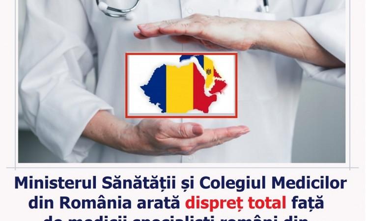 Ministerul Sănătății și Colegiul Medicilor din România arată dispreț total față de medicii specialiști din Moldova! Solicit și actualului ministru al sănătății Nelu Tătaru, îmbunătățirea procesului de autorizare a medicilor specialiști moldoveni!
